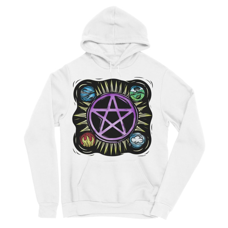 Elemental Pentagram Men's Sponge Fleece Pullover Hoody by Mandragora Magika