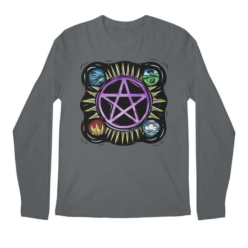 Elemental Pentagram Men's Regular Longsleeve T-Shirt by Mandragora Magika