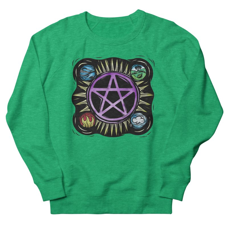 Elemental Pentagram Men's French Terry Sweatshirt by Mandragora Magika