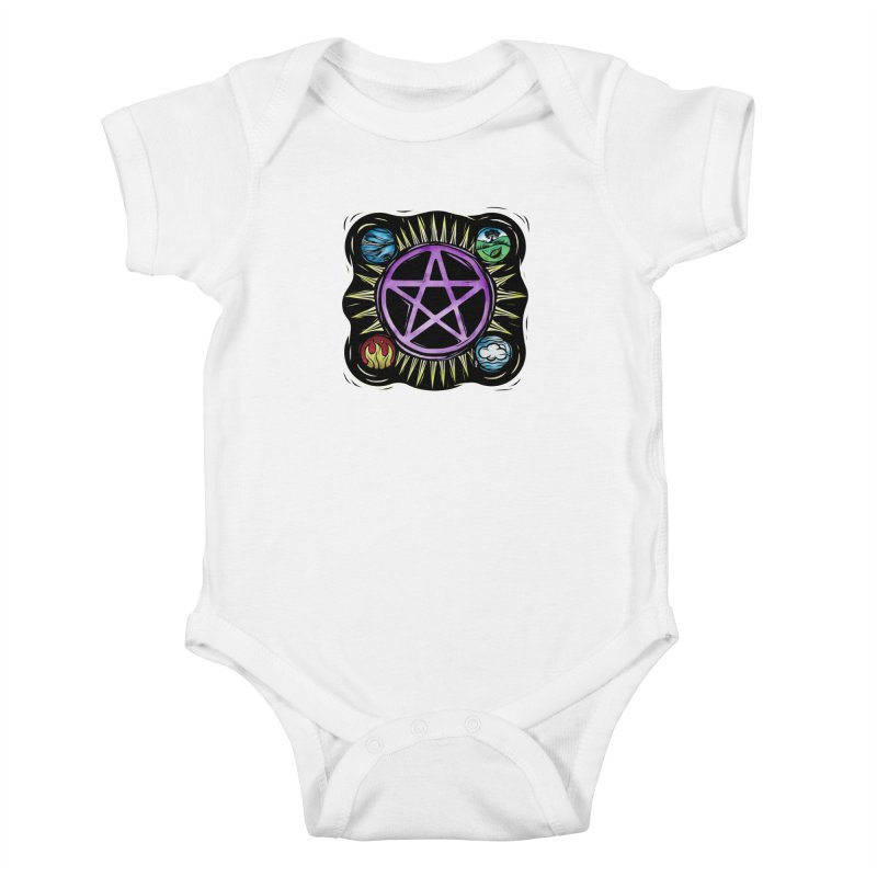 Elemental Pentagram Kids Baby Bodysuit by Mandragora Magika