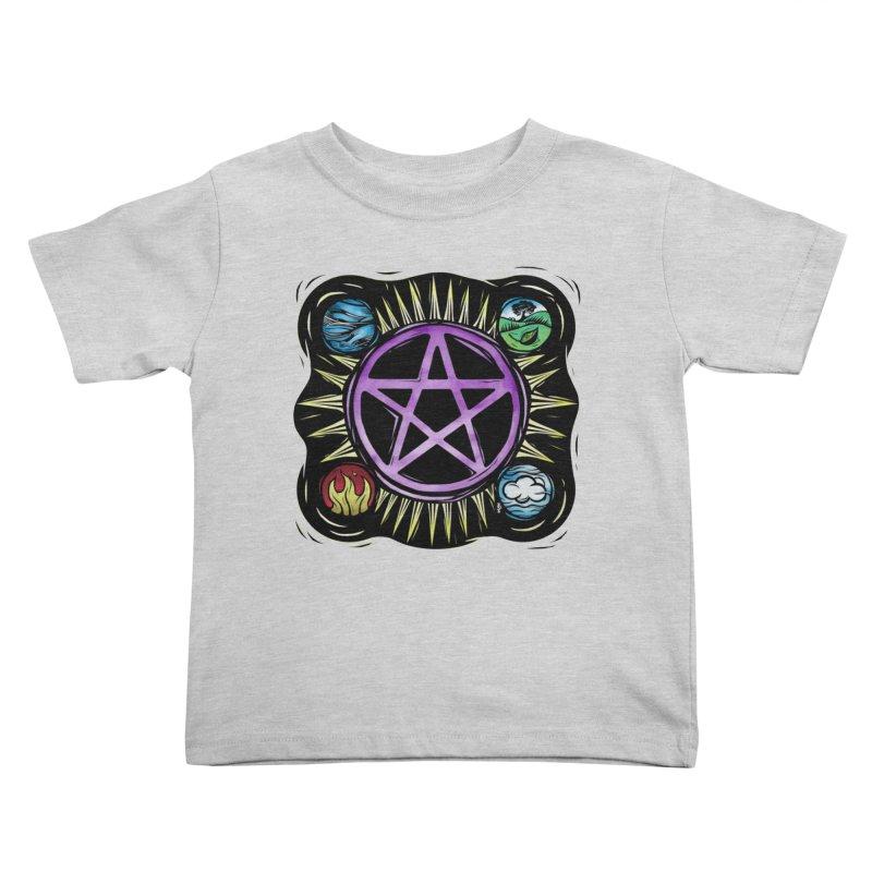 Elemental Pentagram Kids Toddler T-Shirt by Mandragora Magika