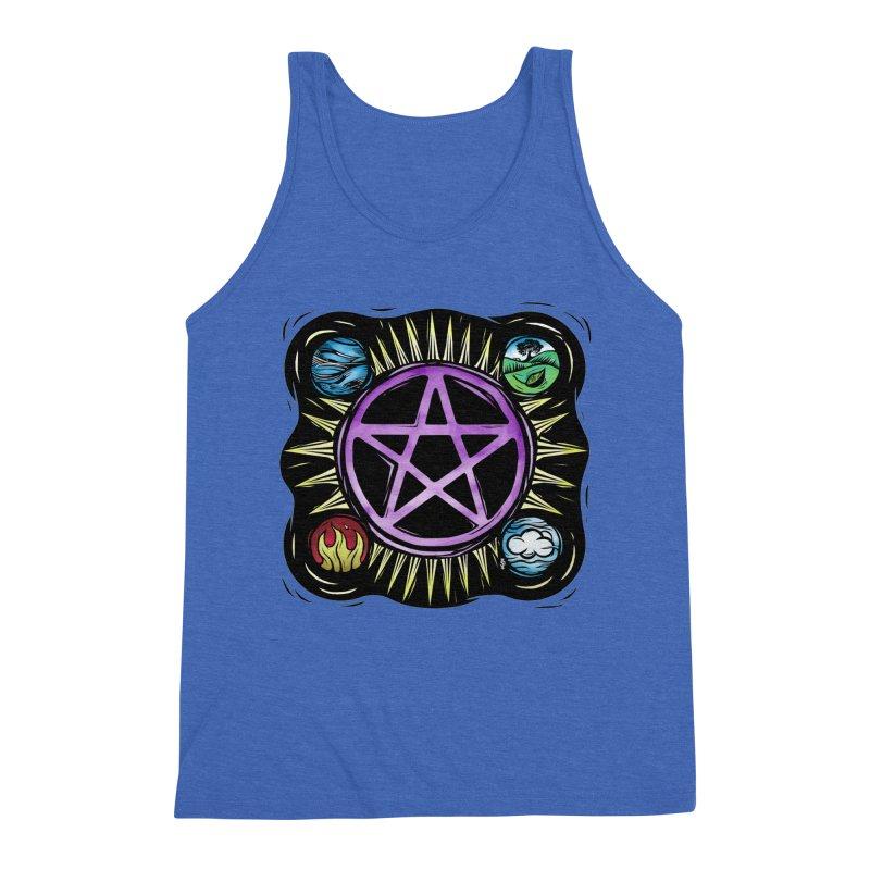 Elemental Pentagram Men's Triblend Tank by Mandragora Magika