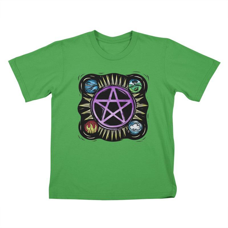Elemental Pentagram Kids T-Shirt by Mandragora Magika