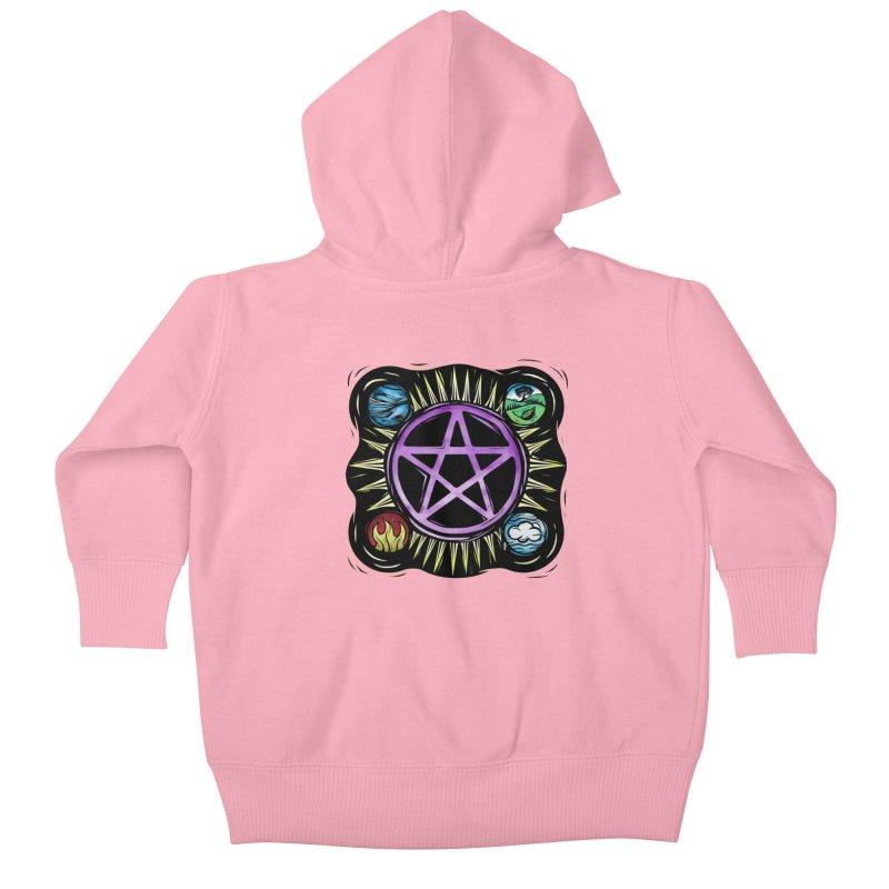 Elemental Pentagram Kids Baby Zip-Up Hoody by Mandragora Magika