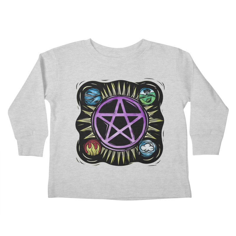 Elemental Pentagram Kids Toddler Longsleeve T-Shirt by Mandragora Magika