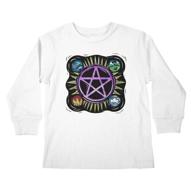 Elemental Pentagram Kids Longsleeve T-Shirt by Mandragora Magika