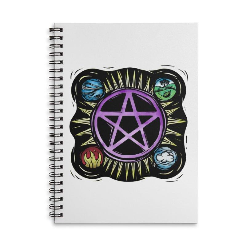 Elemental Pentagram Accessories Lined Spiral Notebook by Mandragora Magika