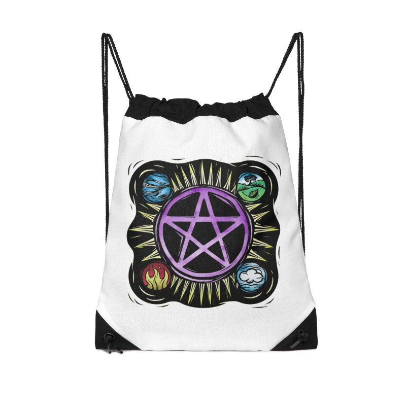 Elemental Pentagram Accessories Drawstring Bag Bag by Mandragora Magika