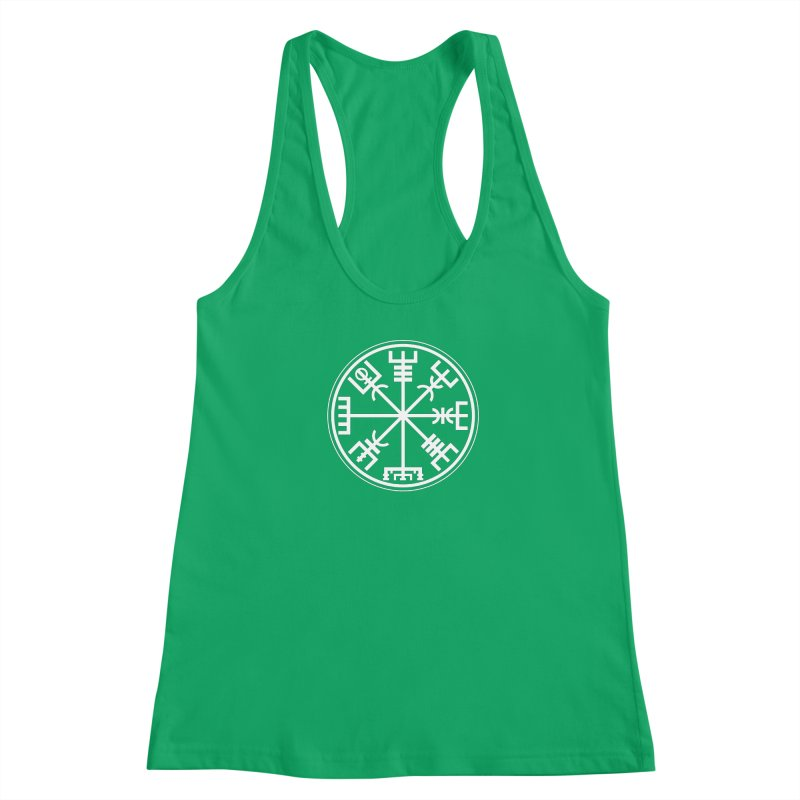 "Vegvisir ""That Which Shows the Way"" Viking Symbol Women's Racerback Tank by Mandragora Magika"