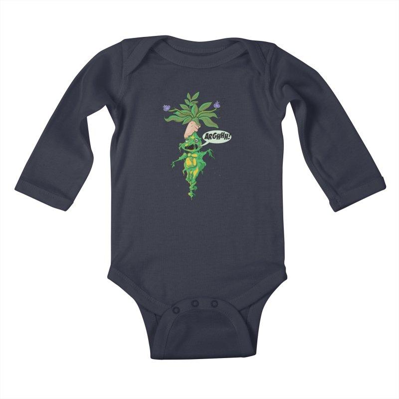 Pulling Up Mandrakes! Kids Baby Longsleeve Bodysuit by Mandragora Magika