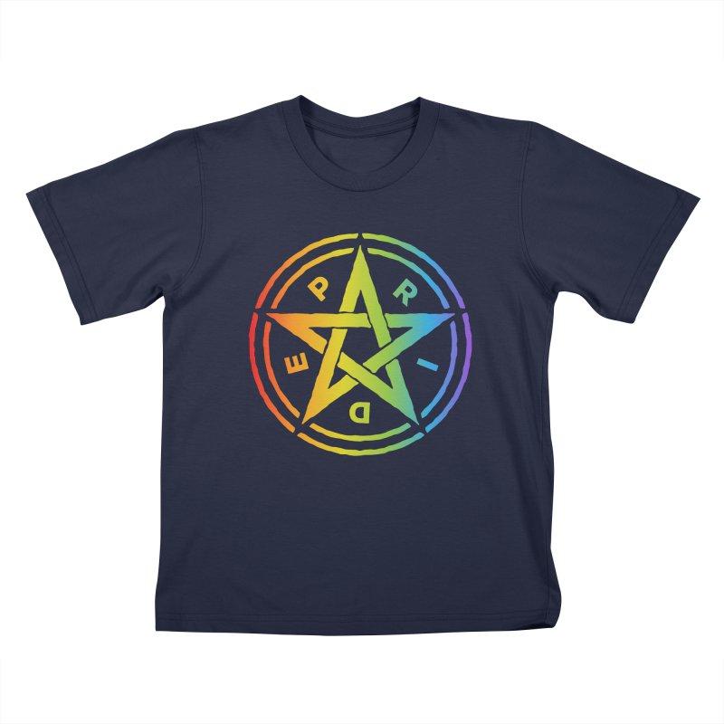 Pride Pentagram Kids T-Shirt by Mandragora Magika