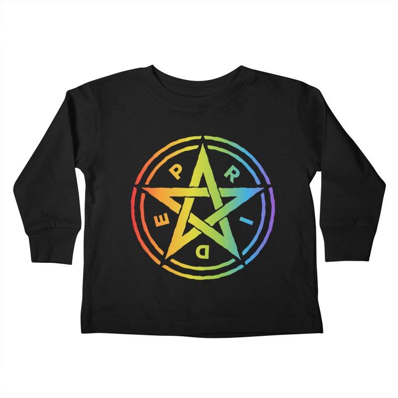 Pride Pentagram Kids Toddler Longsleeve T-Shirt by Mandragora Magika