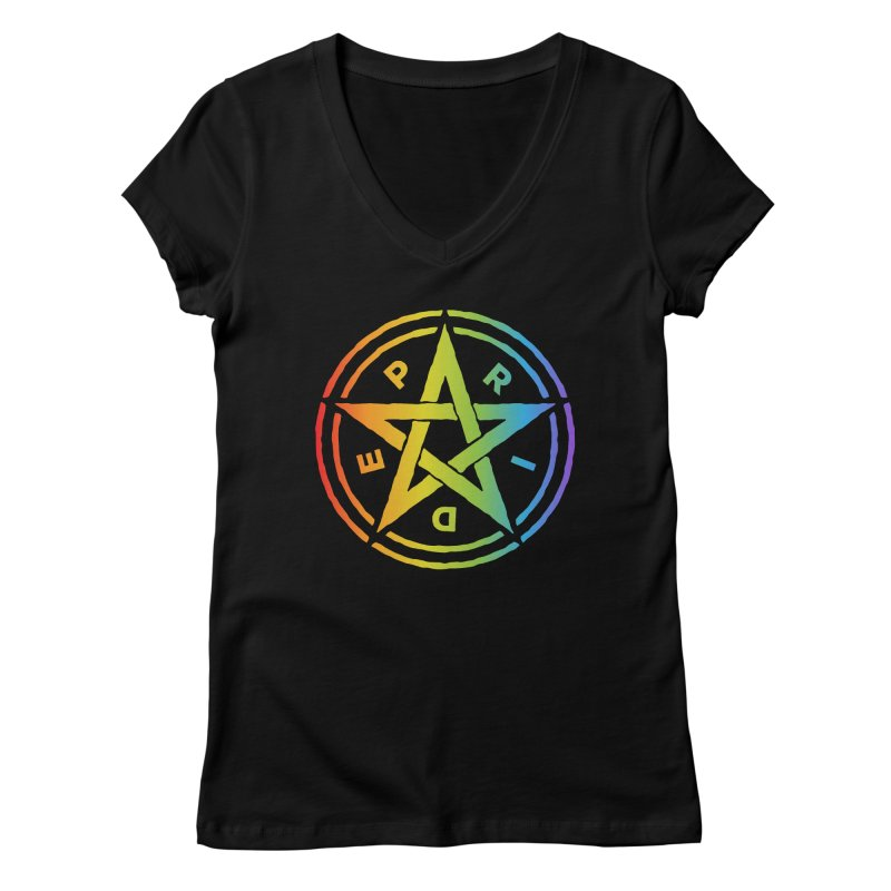 Pride Pentagram Women's V-Neck by Mandragora Magika