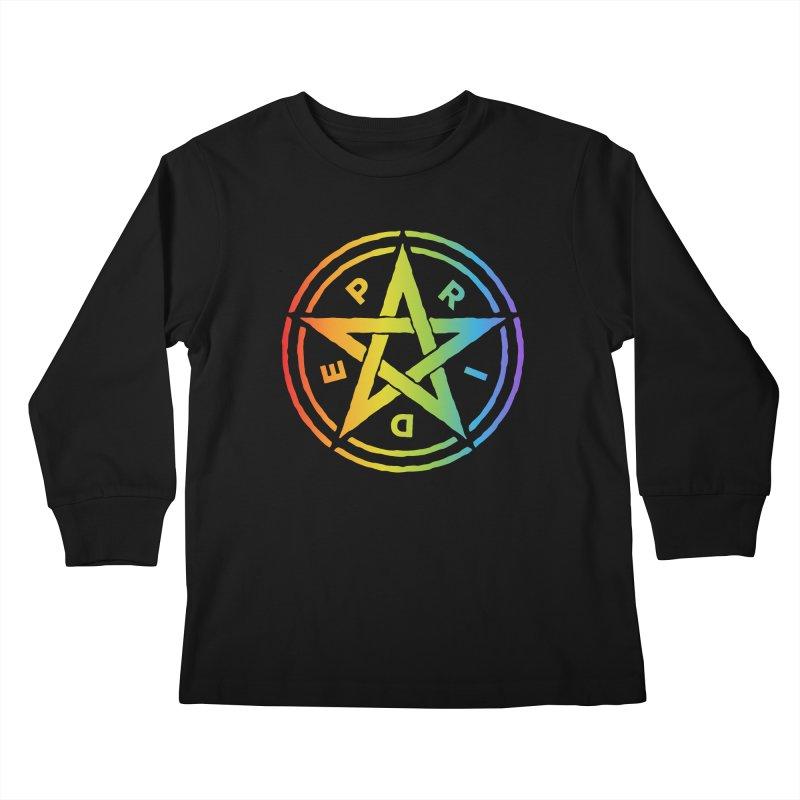 Pride Pentagram Kids Longsleeve T-Shirt by Mandragora Magika
