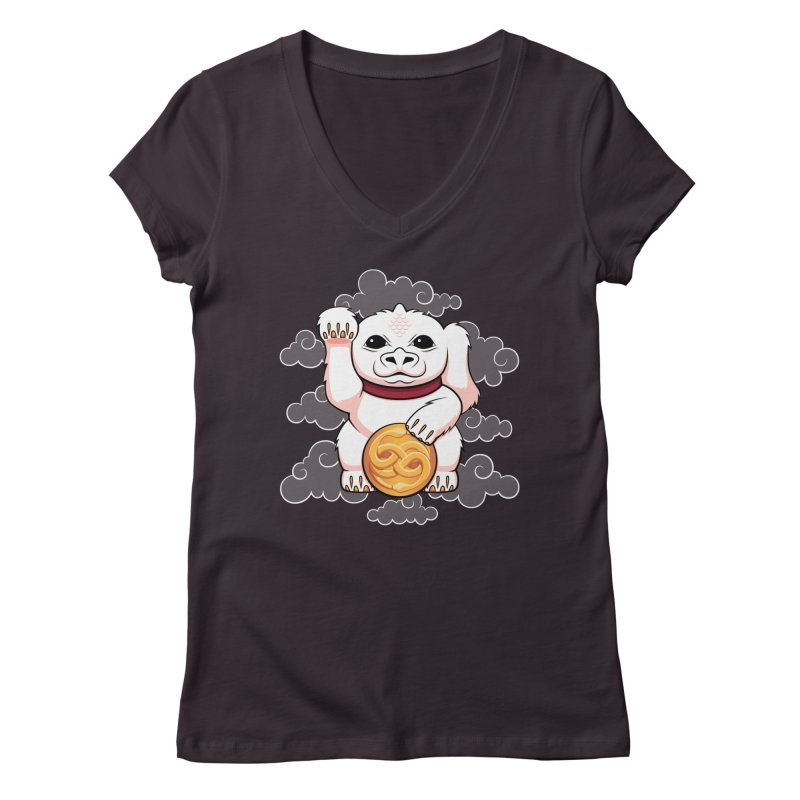 Lucky Dragon Women's V-Neck by mandrie's Artist Shop