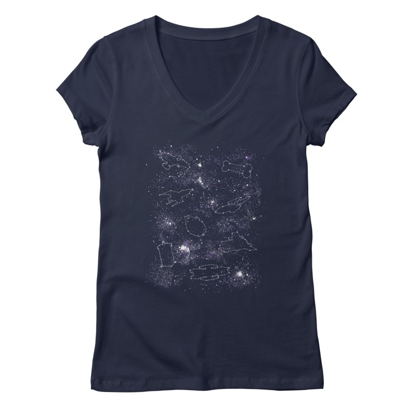 Star Ships Women's V-Neck by mandrie's Artist Shop
