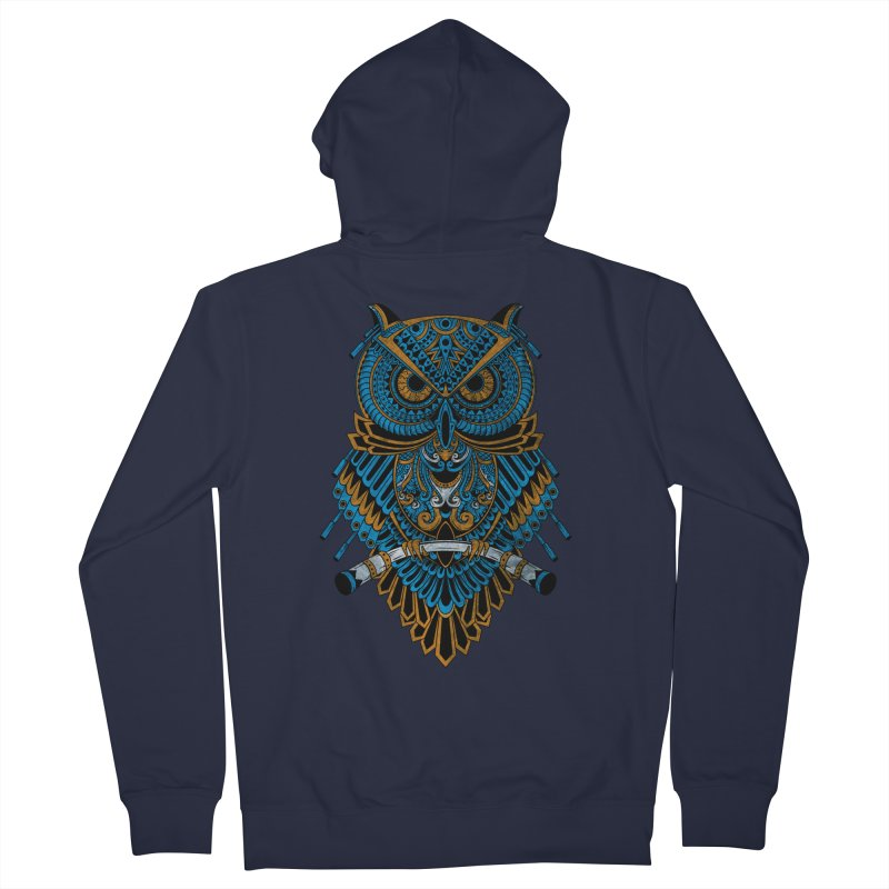 Machinery Owl Men's French Terry Zip-Up Hoody by MHYdesign