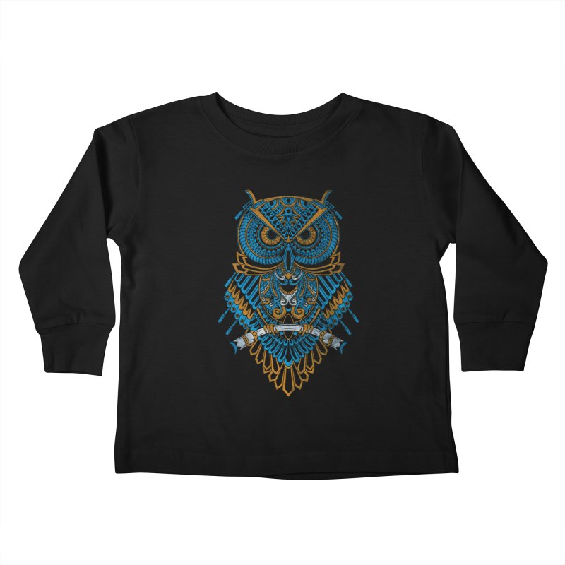 Machinery Owl Kids Toddler Longsleeve T-Shirt by MHYdesign