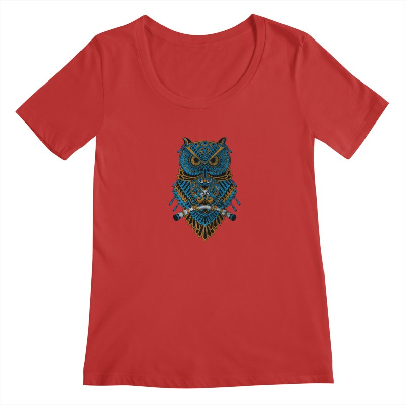 Machinery Owl Women's Scoop Neck by MHYdesign