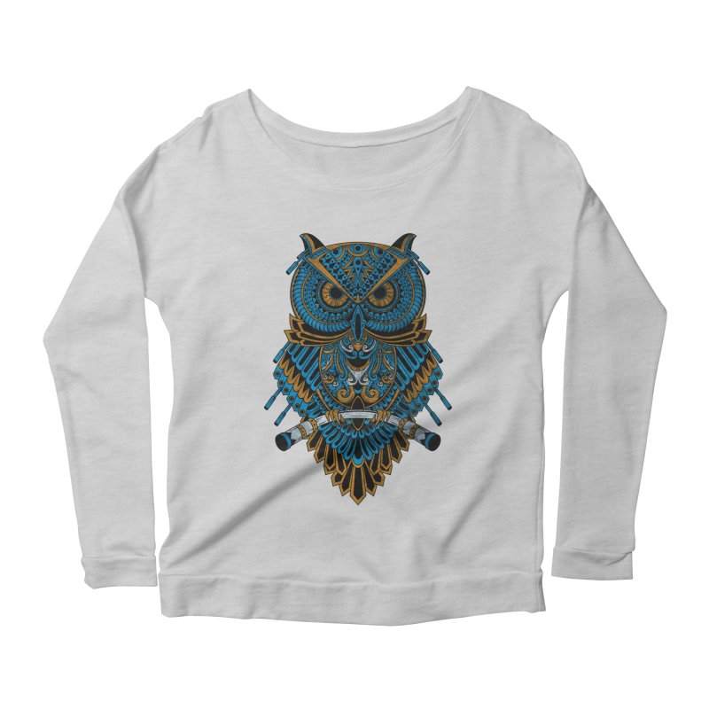 Machinery Owl Women's Longsleeve Scoopneck  by MHYdesign