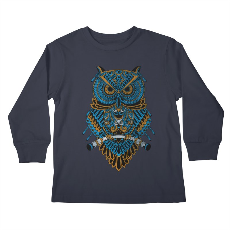 Machinery Owl Kids Longsleeve T-Shirt by MHYdesign