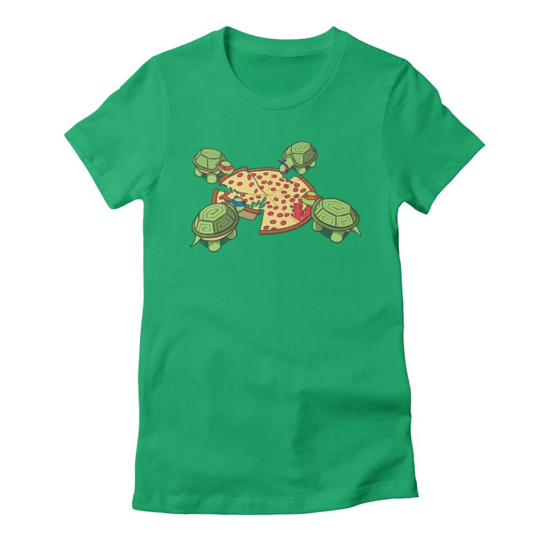 hungry hungry turtles ninja version Women's Fitted T-Shirt by manikx's Artist Shop