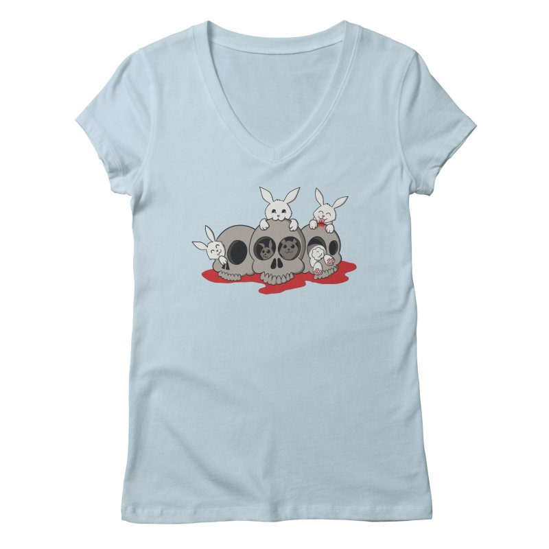 bunnies and skulls Women's V-Neck by manikx's Artist Shop