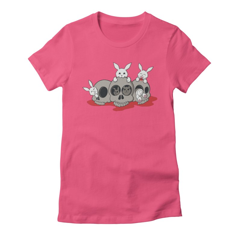 bunnies and skulls Women's Fitted T-Shirt by manikx's Artist Shop