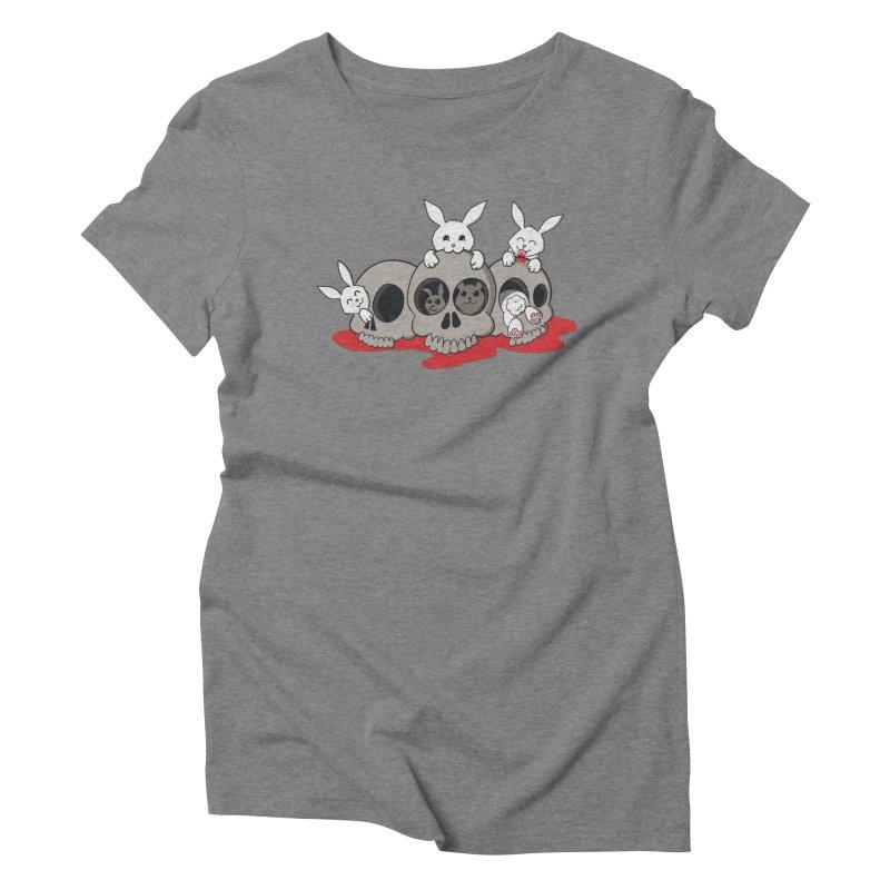 bunnies and skulls Women's Triblend T-shirt by manikx's Artist Shop