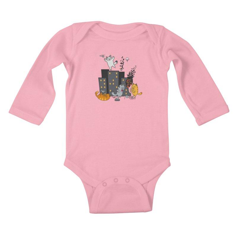 cattastrafy Kids Baby Longsleeve Bodysuit by manikx's Artist Shop