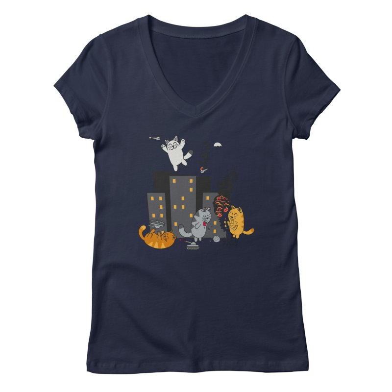 cattastrafy Women's V-Neck by manikx's Artist Shop