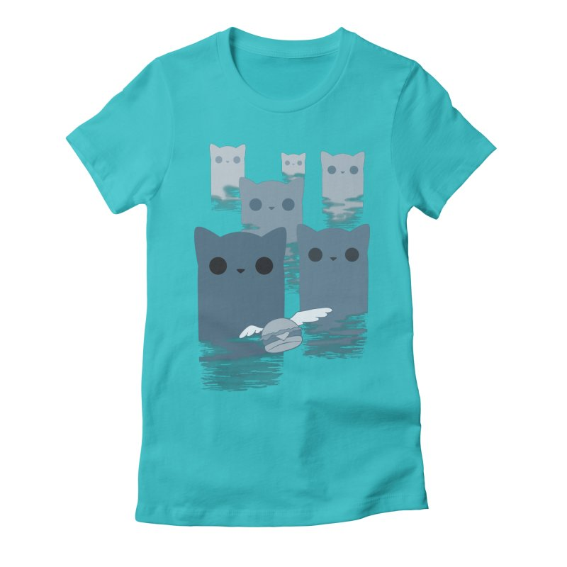 meow mountains Women's Fitted T-Shirt by manikx's Artist Shop