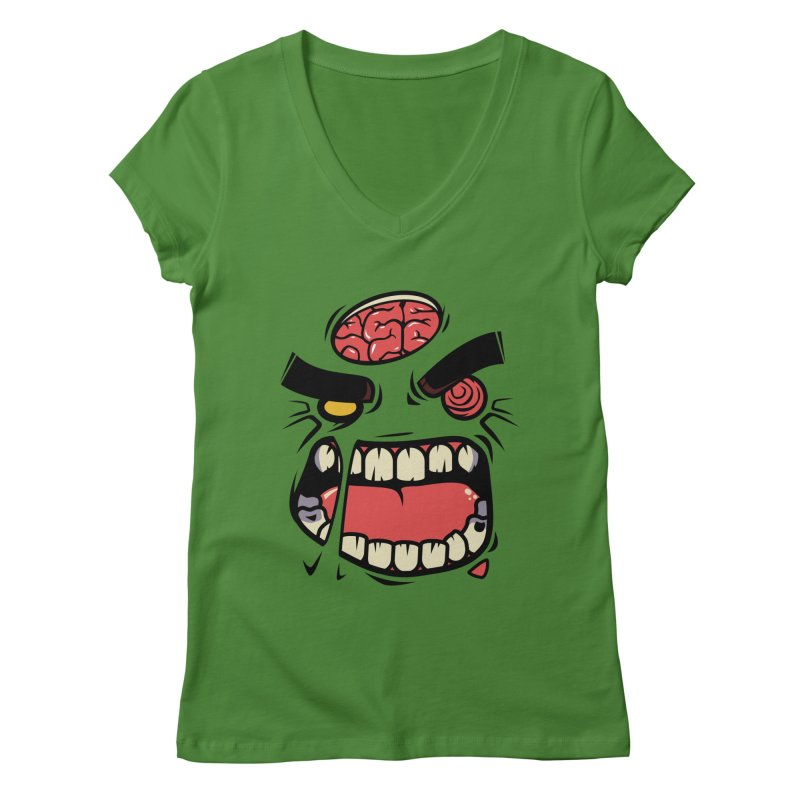 ANGRY ZOMBIE Women's V-Neck by mankeeboi's Artist Shop