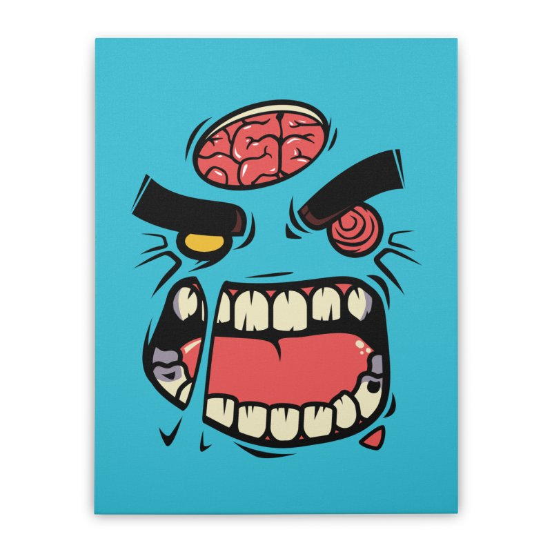 ANGRY ZOMBIE Home Stretched Canvas by mankeeboi's Artist Shop