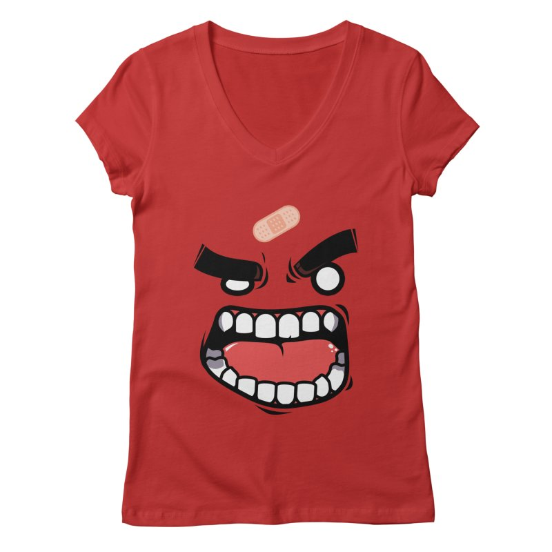 ANGRY TEE Women's V-Neck by mankeeboi's Artist Shop