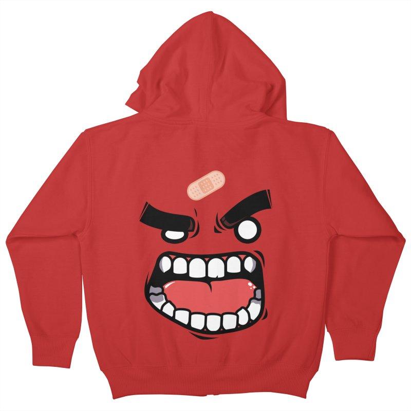 ANGRY TEE Kids Zip-Up Hoody by mankeeboi's Artist Shop