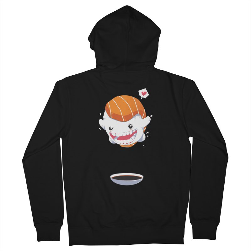 SALMON SUSHI CANNONBALL Men's French Terry Zip-Up Hoody by mankeeboi's Artist Shop