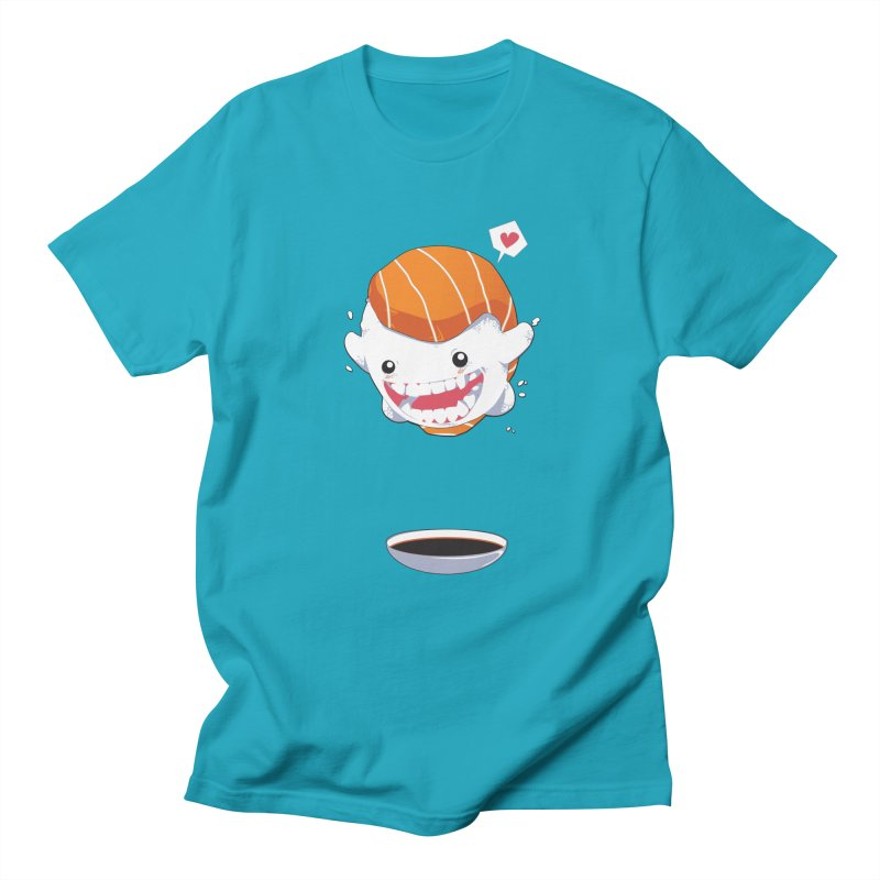 SALMON SUSHI CANNONBALL Men's Regular T-Shirt by mankeeboi's Artist Shop