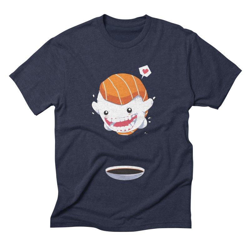 SALMON SUSHI CANNONBALL Men's Triblend T-shirt by mankeeboi's Artist Shop