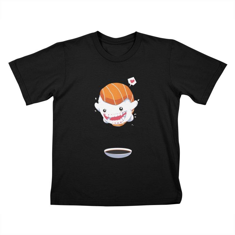 SALMON SUSHI CANNONBALL Kids T-Shirt by mankeeboi's Artist Shop