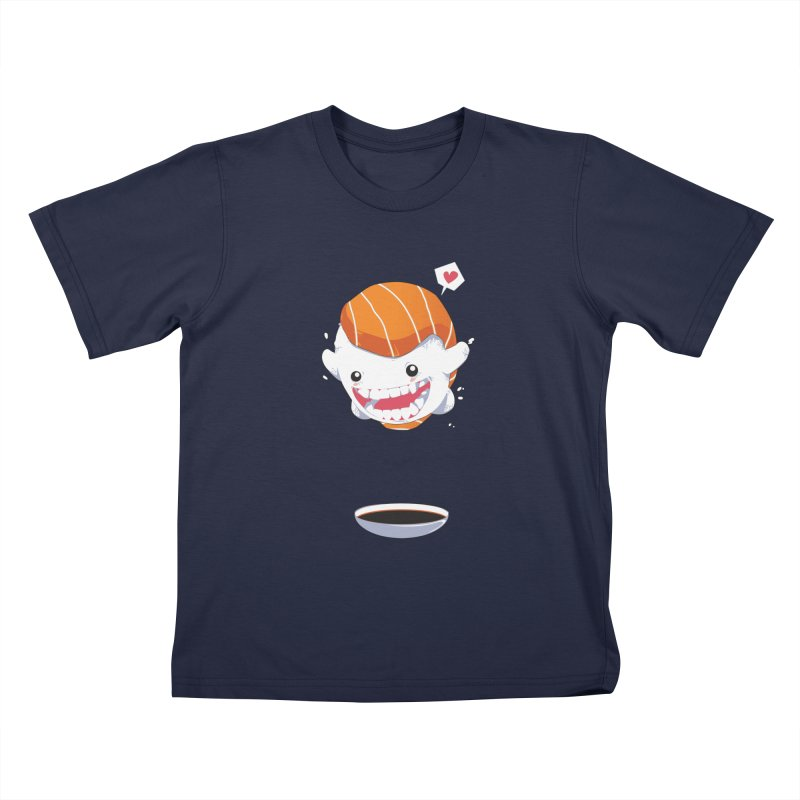 SALMON SUSHI CANNONBALL Kids T-shirt by mankeeboi's Artist Shop
