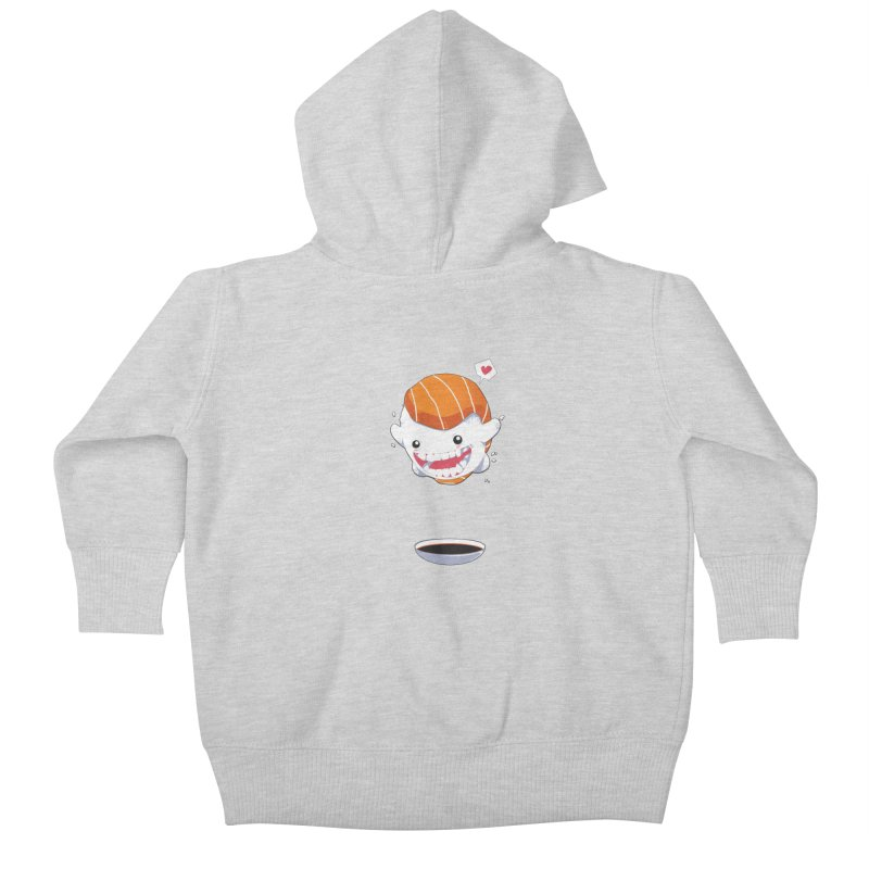 SALMON SUSHI CANNONBALL Kids Baby Zip-Up Hoody by mankeeboi's Artist Shop