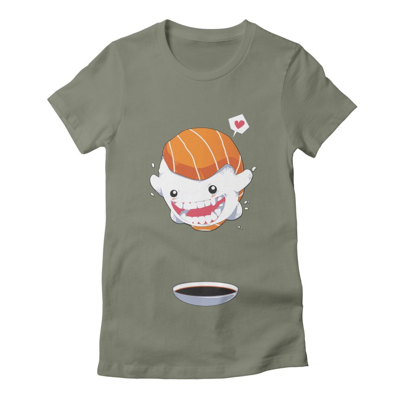 SALMON SUSHI CANNONBALL Women's Fitted T-Shirt by mankeeboi's Artist Shop