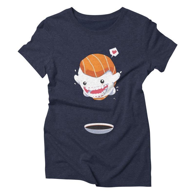 SALMON SUSHI CANNONBALL Women's Triblend T-Shirt by mankeeboi's Artist Shop