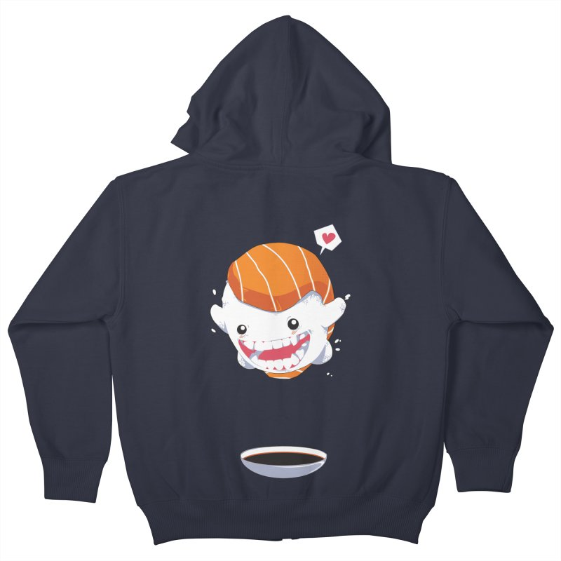 SALMON SUSHI CANNONBALL Kids Zip-Up Hoody by mankeeboi's Artist Shop