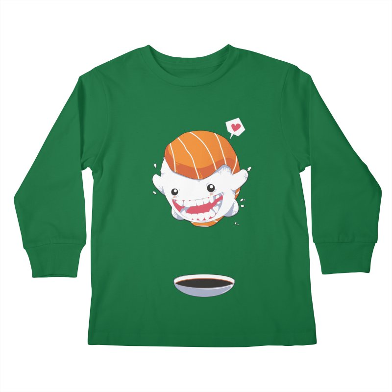 SALMON SUSHI CANNONBALL Kids Longsleeve T-Shirt by mankeeboi's Artist Shop