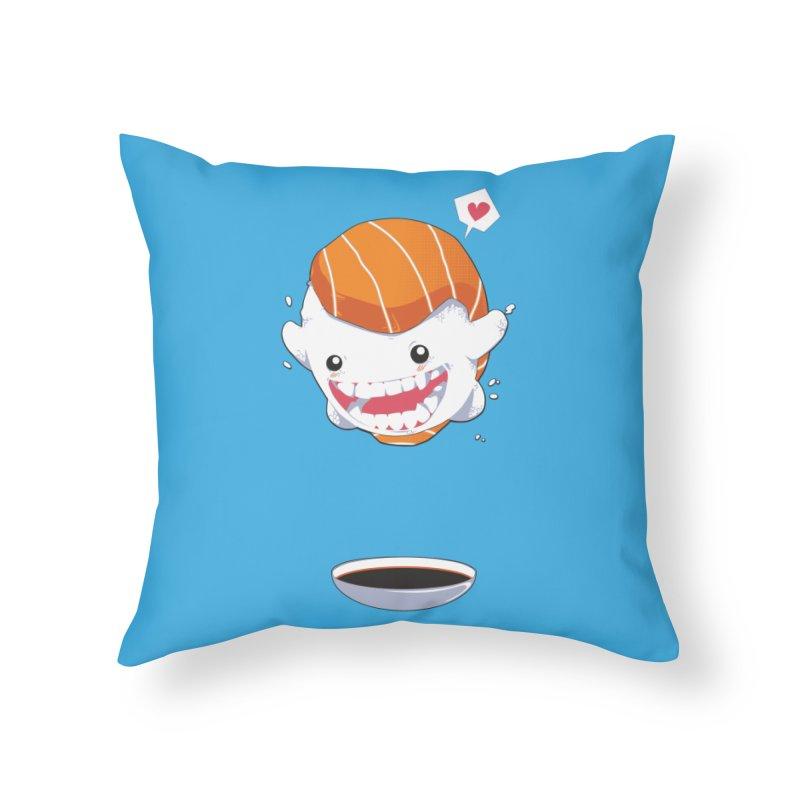 SALMON SUSHI CANNONBALL Home Throw Pillow by mankeeboi's Artist Shop