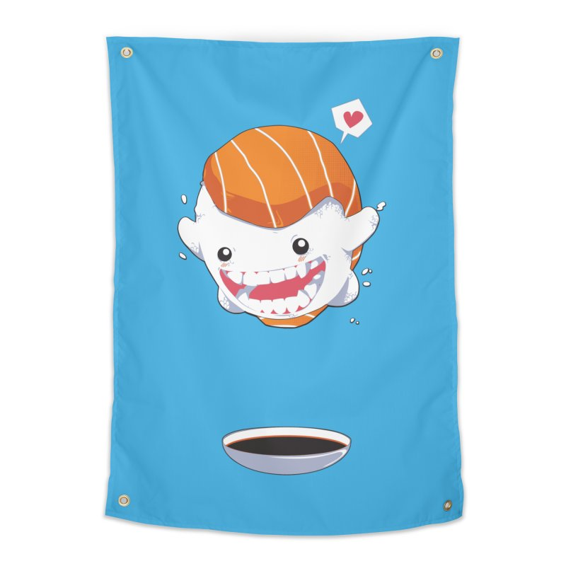 SALMON SUSHI CANNONBALL Home Tapestry by mankeeboi's Artist Shop