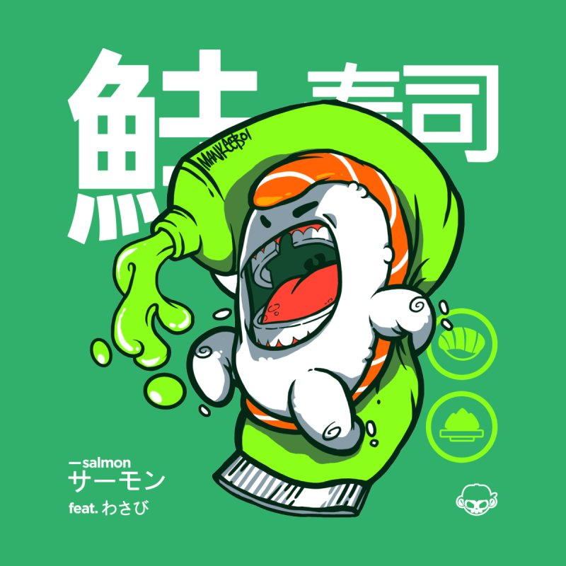Salmon feat. Wasabi Men's Longsleeve T-Shirt by mankeeboi's Artist Shop