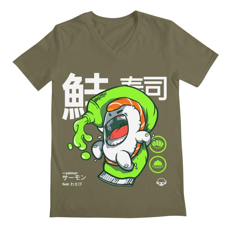 Salmon feat. Wasabi Men's Regular V-Neck by mankeeboi's Artist Shop